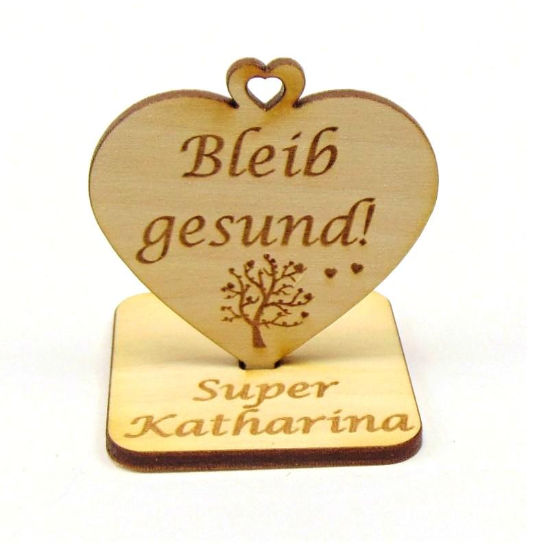 Kleinesbild - Bleib gesund ♥ kleine Aufmerksamkeit ♥ Geschenk für Freunde, Familie, Personalisiert, mit Herzbaum