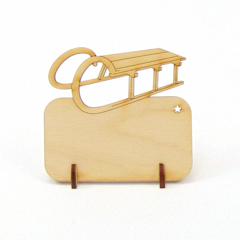 Kleinesbild - Tischkarte Schlitten für Weihnachtstafel Namensschild Weihnachtlich aus Holz