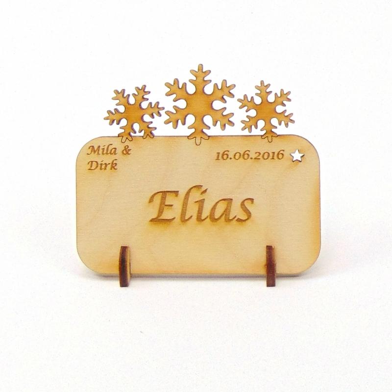 Kleinesbild - Tischkarte Schneeflocken für Weihnachtstafel Namensschild Weihnachtlich aus Holz