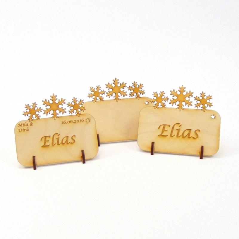 - Tischkarte Schneeflocken für Weihnachtstafel Namensschild Weihnachtlich aus Holz  - Tischkarte Schneeflocken für Weihnachtstafel Namensschild Weihnachtlich aus Holz