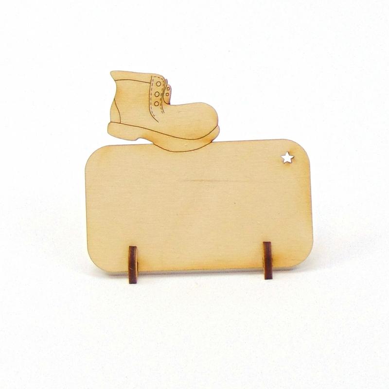 Kleinesbild - Stiefel Tischkarte für Weihnachtstafel Namensschild Weihnachtlich aus Holz