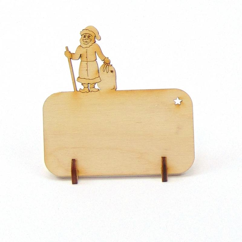 Kleinesbild - Weihnachtsmann Tischkarte für Weihnachtstafel Namensschild Weihnachtlich aus Holz