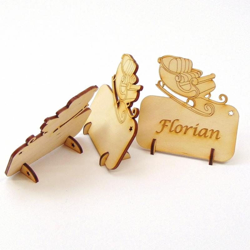 Kleinesbild - Weihnachtsschlitten Tischkarte für Weihnachtstafel Namensschild Weihnachtlich aus Holz
