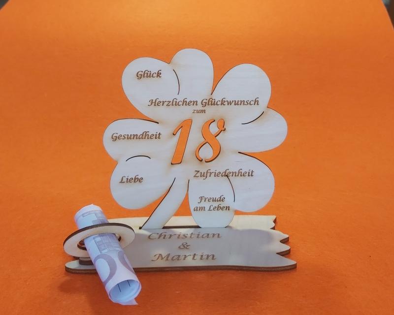 -  Personalisiertes Geldgeschenk ♥ zum 18. Geburtstag ♥ Kleeblatt Naturholz ♥ -  Personalisiertes Geldgeschenk ♥ zum 18. Geburtstag ♥ Kleeblatt Naturholz ♥