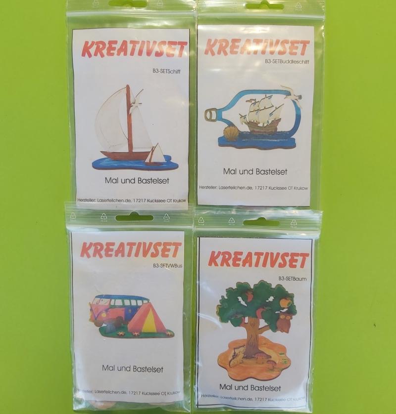 - Kreativset 4 verschiedene Sorten zum bemalen für Kinder Segelschiff, Buttelschiff, VW Bus, Baum - Kreativset 4 verschiedene Sorten zum bemalen für Kinder Segelschiff, Buttelschiff, VW Bus, Baum