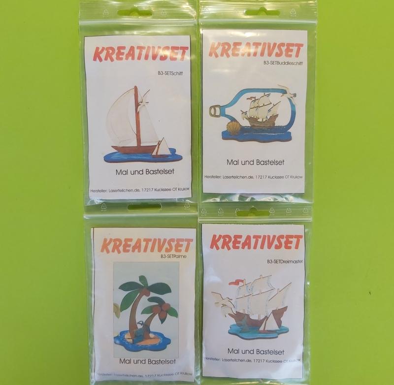 - Kreativset 4 verschiedene Sorten zum bemalen für Kinder Segelschiff, Buttelschiff, Palme, Dreimaster - Kreativset 4 verschiedene Sorten zum bemalen für Kinder Segelschiff, Buttelschiff, Palme, Dreimaster
