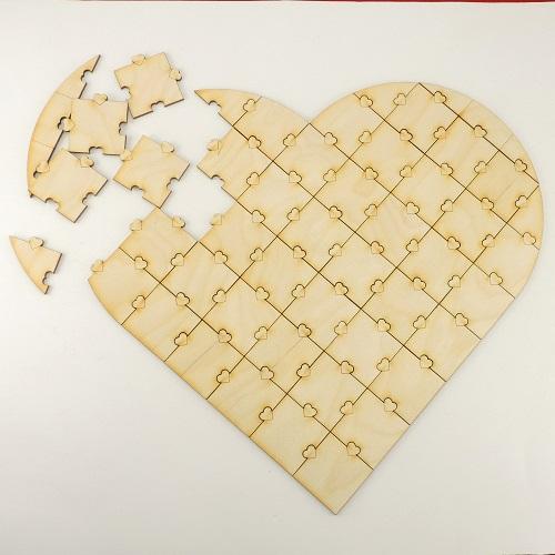 Kleinesbild - Holz Puzzle ♥ 47 Teile ♥ zum Bemalen bei Hochzeiten oder Fingerabdrücke, Individuell, Personalisiert