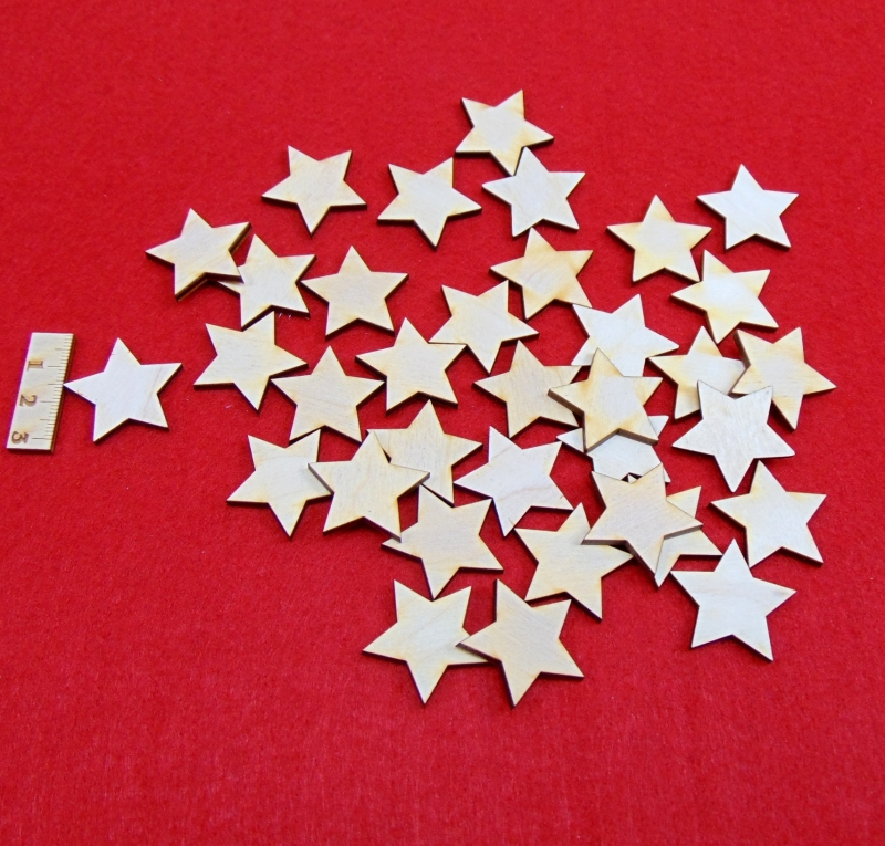 - Holz Sterne 35 Stck naturbelassen in 3 cm Vintage Look für Weihnachtsdeko  - Holz Sterne 35 Stck naturbelassen in 3 cm Vintage Look für Weihnachtsdeko
