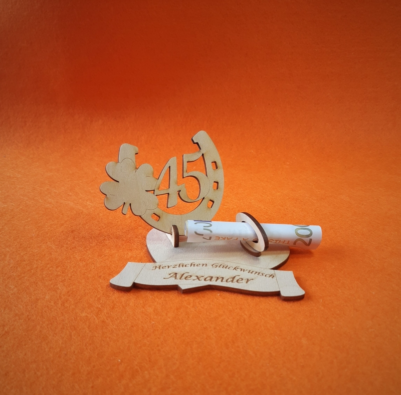 - Geldgeschenk Geburtstag ♥ Hufeisen mit Zahl 45 ♥  Wunschgravur, Herz Personalisiert - Geldgeschenk Geburtstag ♥ Hufeisen mit Zahl 45 ♥  Wunschgravur, Herz Personalisiert
