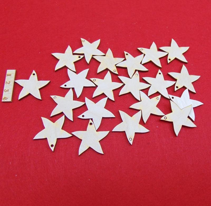 - Holz Sterne 20 Stck naturbelassen in 4cm  mit Loch Vintage Look für Weihnachtsdeko  Ideen aus Holz als Baumbehang - Holz Sterne 20 Stck naturbelassen in 4cm  mit Loch Vintage Look für Weihnachtsdeko  Ideen aus Holz als Baumbehang