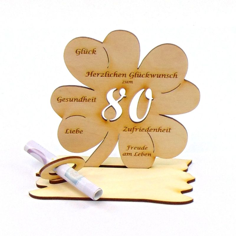 Kleinesbild -  ♥ Personalisiertes Kleeblatt ♥ Geburtstagskleeblatt Zahl 80 mit Glückwünschen aus Holz 16 cm