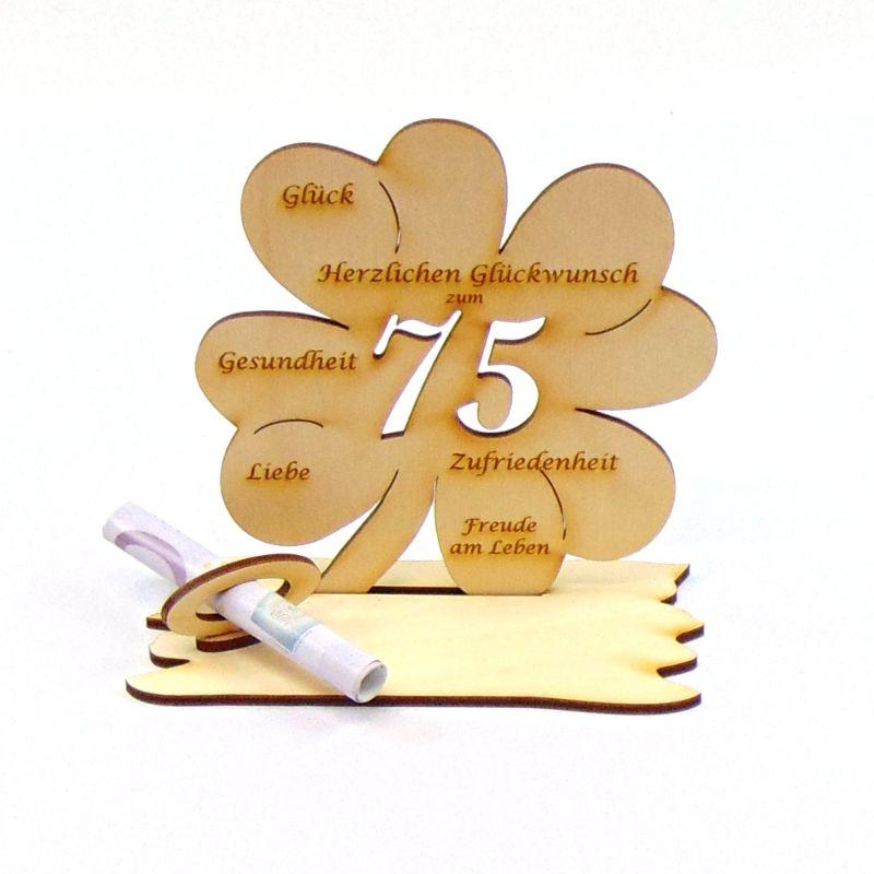 Kleinesbild -  ♥ Personalisiertes Kleeblatt ♥ Geburtstagskleeblatt Zahl 75 mit Glückwünschen aus Holz 16 cm