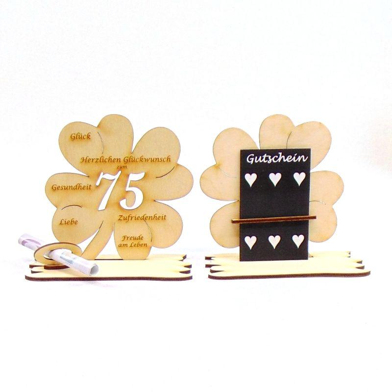 -  ♥ Personalisiertes Kleeblatt ♥ Geburtstagskleeblatt Zahl 75 mit Glückwünschen aus Holz 16 cm -  ♥ Personalisiertes Kleeblatt ♥ Geburtstagskleeblatt Zahl 75 mit Glückwünschen aus Holz 16 cm