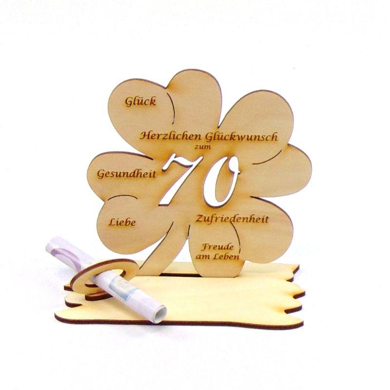 Kleinesbild -  ♥ Personalisiertes Kleeblatt ♥ Geburtstagskleeblatt Zahl 70 mit Glückwünschen aus Holz 16 cm