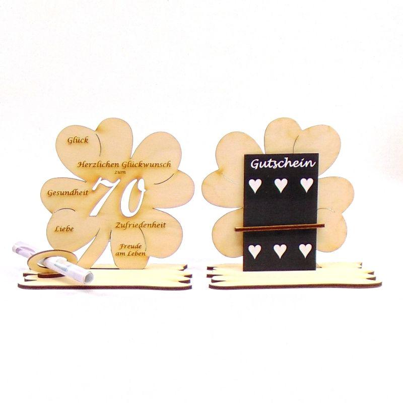 -  ♥ Personalisiertes Kleeblatt ♥ Geburtstagskleeblatt Zahl 70 mit Glückwünschen aus Holz 16 cm -  ♥ Personalisiertes Kleeblatt ♥ Geburtstagskleeblatt Zahl 70 mit Glückwünschen aus Holz 16 cm