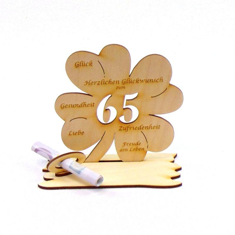 Kleinesbild -  ♥ Personalisiertes Kleeblatt ♥ Geburtstagskleeblatt Zahl 65 mit Glückwünschen aus Holz 16 cm