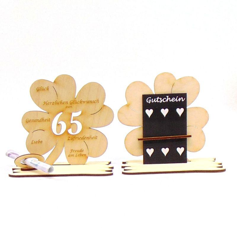-  ♥ Personalisiertes Kleeblatt ♥ Geburtstagskleeblatt Zahl 65 mit Glückwünschen aus Holz 16 cm -  ♥ Personalisiertes Kleeblatt ♥ Geburtstagskleeblatt Zahl 65 mit Glückwünschen aus Holz 16 cm