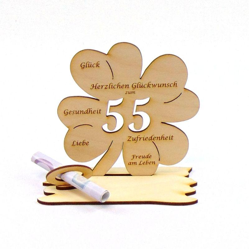 Kleinesbild -  ♥ Personalisiertes Kleeblatt ♥ Geburtstagskleeblatt Zahl 55 mit Glückwünschen aus Holz 16 cm