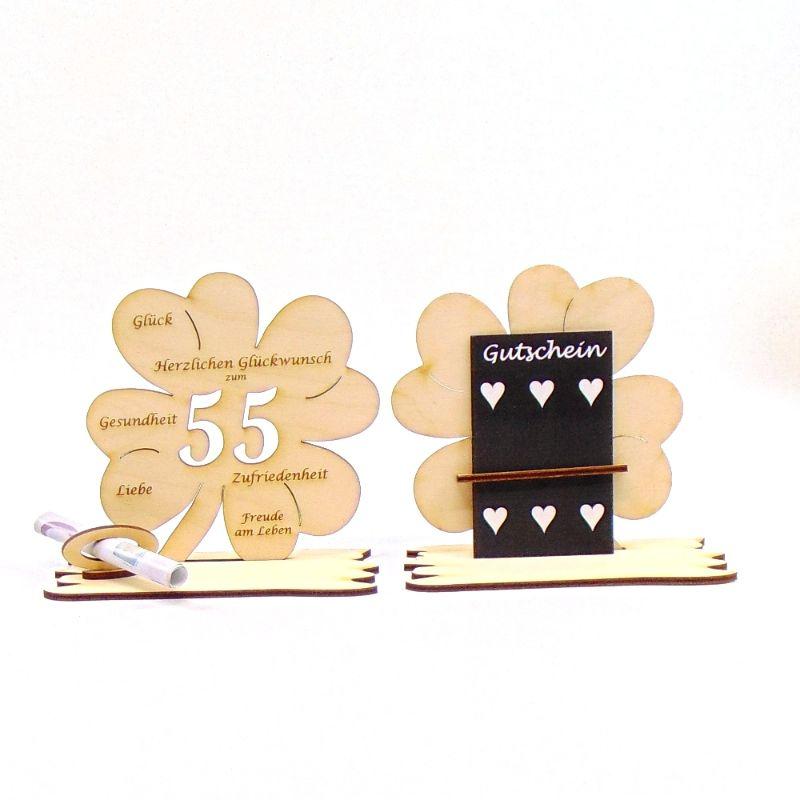-  ♥ Personalisiertes Kleeblatt ♥ Geburtstagskleeblatt Zahl 55 mit Glückwünschen aus Holz 16 cm -  ♥ Personalisiertes Kleeblatt ♥ Geburtstagskleeblatt Zahl 55 mit Glückwünschen aus Holz 16 cm