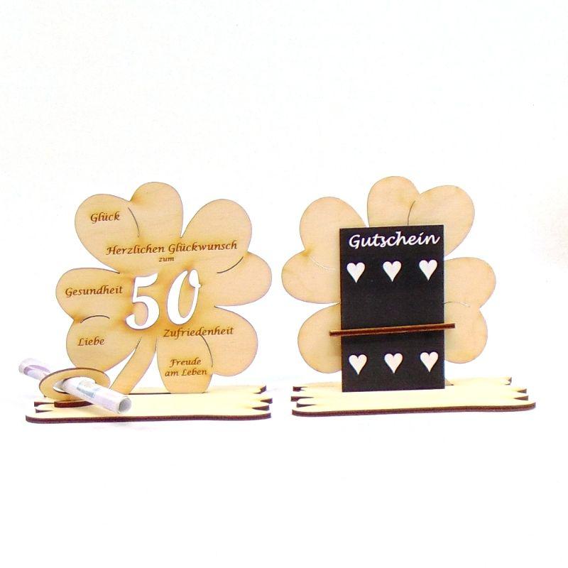-  ♥ Personalisiertes Kleeblatt ♥ Geburtstagskleeblatt Zahl 50 mit Glückwünschen aus Holz 16 cm -  ♥ Personalisiertes Kleeblatt ♥ Geburtstagskleeblatt Zahl 50 mit Glückwünschen aus Holz 16 cm