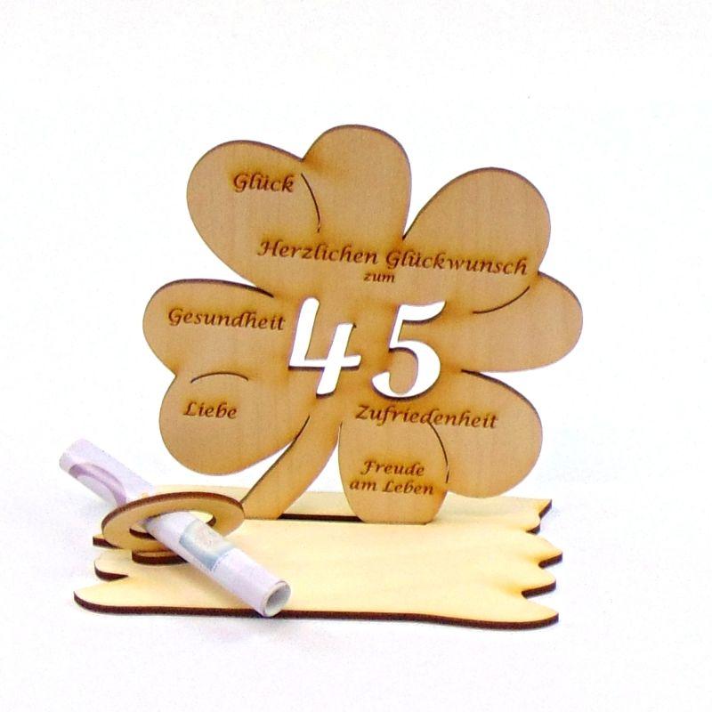 Kleinesbild -  ♥ Personalisiertes Kleeblatt ♥ Geburtstagskleeblatt Zahl 45 mit Glückwünschen aus Holz 16 cm