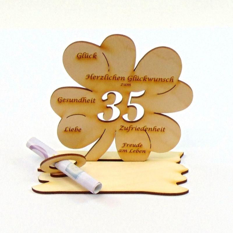 Kleinesbild -  ♥ Personalisiertes Kleeblatt ♥ Geburtstagskleeblatt Zahl 35 mit Glückwünschen aus Holz 16 cm