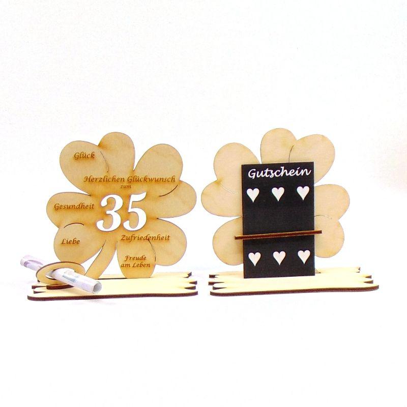 -  ♥ Personalisiertes Kleeblatt ♥ Geburtstagskleeblatt Zahl 35 mit Glückwünschen aus Holz 16 cm -  ♥ Personalisiertes Kleeblatt ♥ Geburtstagskleeblatt Zahl 35 mit Glückwünschen aus Holz 16 cm