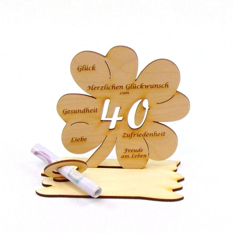 Kleinesbild -  ♥ Personalisiertes Kleeblatt ♥ Geburtstagskleeblatt Zahl 40 mit Glückwünschen aus Holz 16 cm