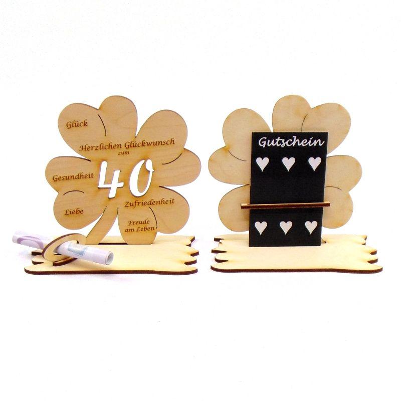 -  ♥ Personalisiertes Kleeblatt ♥ Geburtstagskleeblatt Zahl 40 mit Glückwünschen aus Holz 16 cm  -  ♥ Personalisiertes Kleeblatt ♥ Geburtstagskleeblatt Zahl 40 mit Glückwünschen aus Holz 16 cm