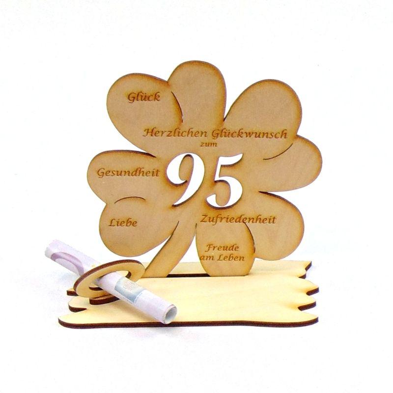 Kleinesbild -  ♥ Personalisiertes Kleeblatt ♥ Geburtstagskleeblatt Zahl 95 mit Glückwünschen aus Holz 16 cm