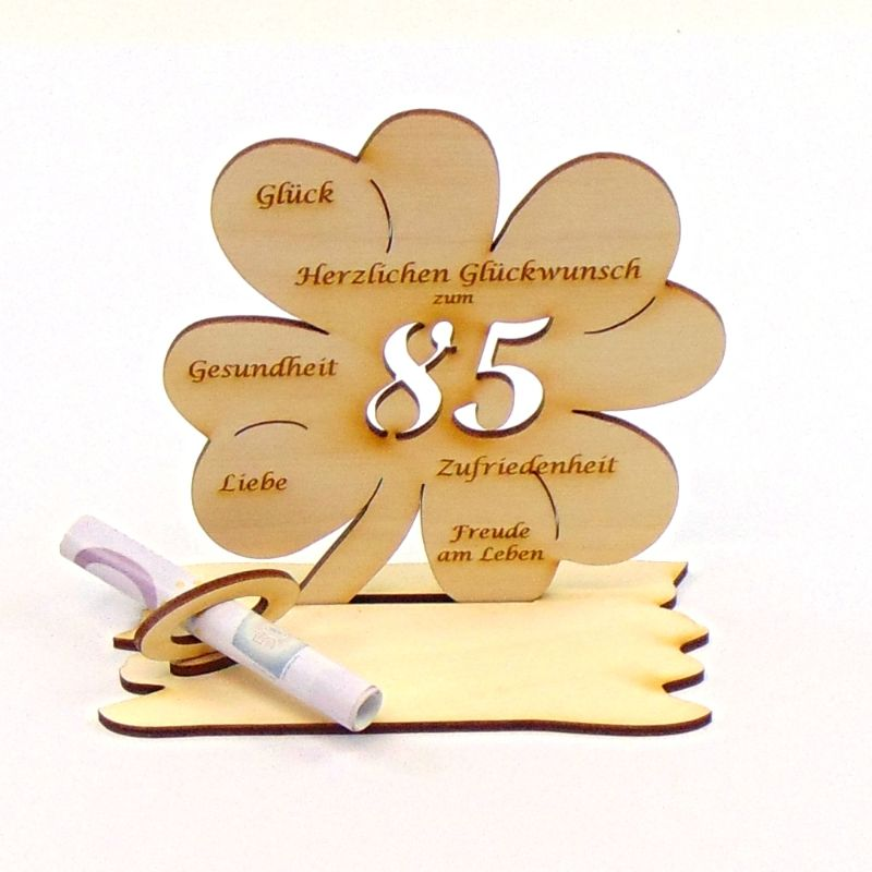 Kleinesbild -  ♥ Personalisiertes Kleeblatt ♥ Geburtstagskleeblatt Zahl 85 mit Glückwünschen aus Holz 16 cm