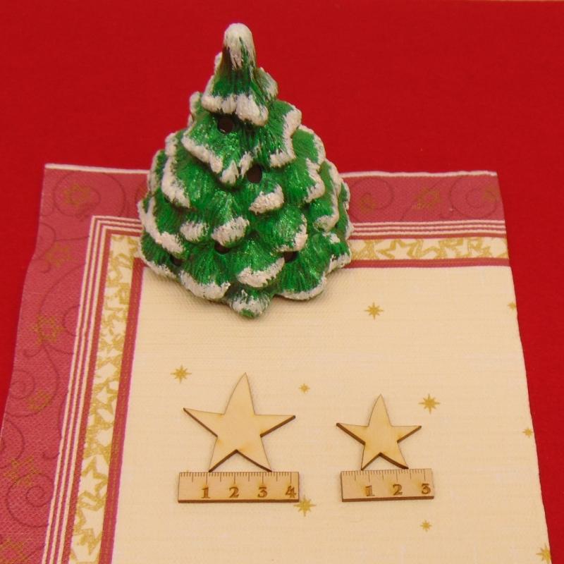 Kleinesbild -  ★ Weihnachtssterne aus Holz mit Loch ★ 10 Stück in 4 cm und 15 Stück mit 3 cm, naturbelassen, Tischdeko, Weihnachtsdeko