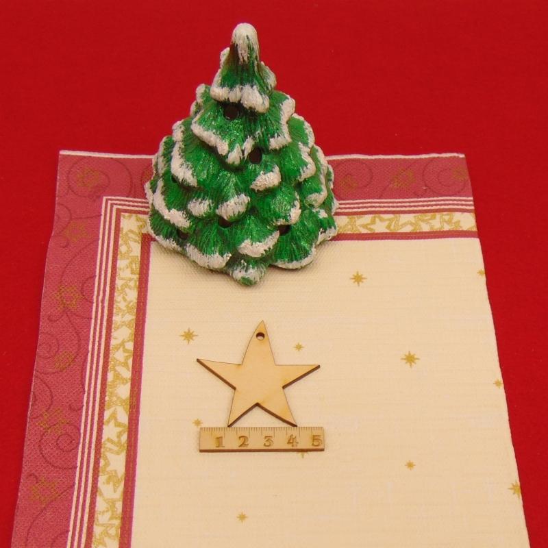Kleinesbild - ★ Weihnachtssterne aus Holz mit Loch ★ 12 Stück naturbelassen, 5 cm, Tischdeko, Weihnachtsdeko, Fensterdeko