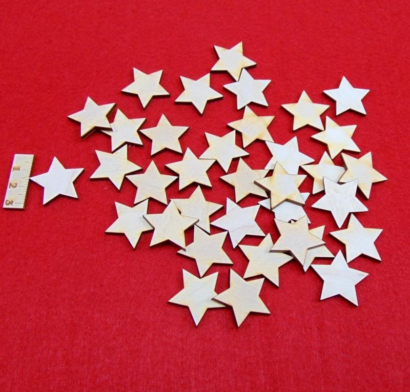 -  ★ Weihnachtssterne aus Holz ★ 35 Stück naturbelassen, 3 cm, Tischdeko, Weihnachtsdeko -  ★ Weihnachtssterne aus Holz ★ 35 Stück naturbelassen, 3 cm, Tischdeko, Weihnachtsdeko