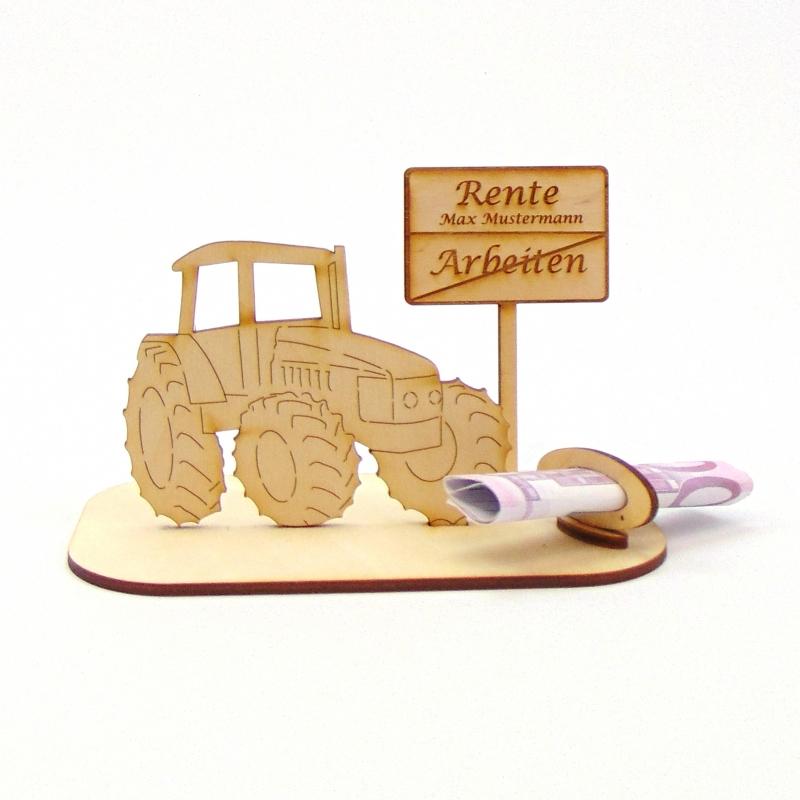 """-  ♥ Geldgeschenk ♥ Traktor mit Schild """"Rente"""" ♥ Wunschgravur, Personalisiert -  ♥ Geldgeschenk ♥ Traktor mit Schild """"Rente"""" ♥ Wunschgravur, Personalisiert"""