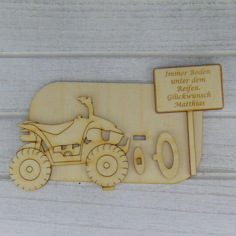 """Kleinesbild - Geld- oder Gutscheingeschenkset ★ Quad aus Holz mit Aufschrift """" Sie heben Ihr Ziel erreicht Willkommen im Ruhestand """"★ zum Verschenken für Quad Fahrer - Personalisierung möglich"""