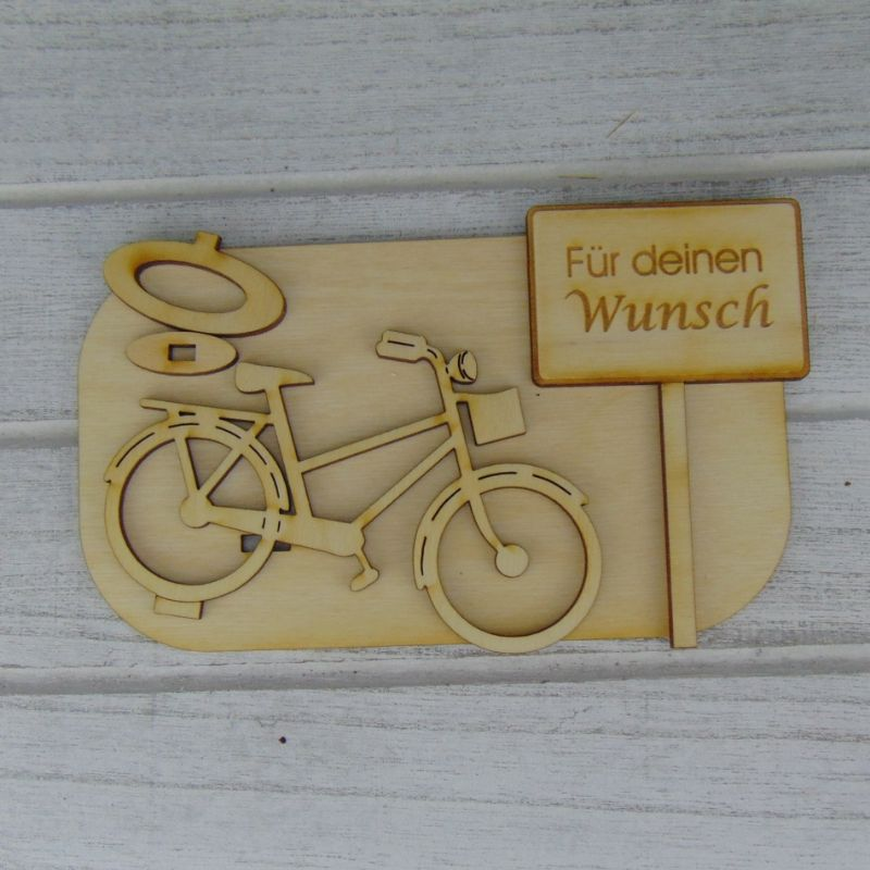 """Kleinesbild - Geld- oder Gutscheingeschenkset ★ Damen E Bike aus Holz mit Aufschrift """"Wunschtext""""★ zum Verschenken - mit Personalisierung"""