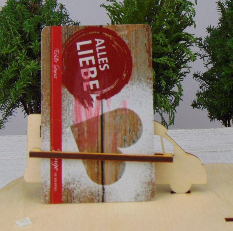 """Kleinesbild - Geld- oder Gutscheingeschenkset ★ Lastenfahrrad aus Holz mit Aufschrift """"Frohe Weihnachten""""★ zum Verschenken - Personalisierung möglich"""