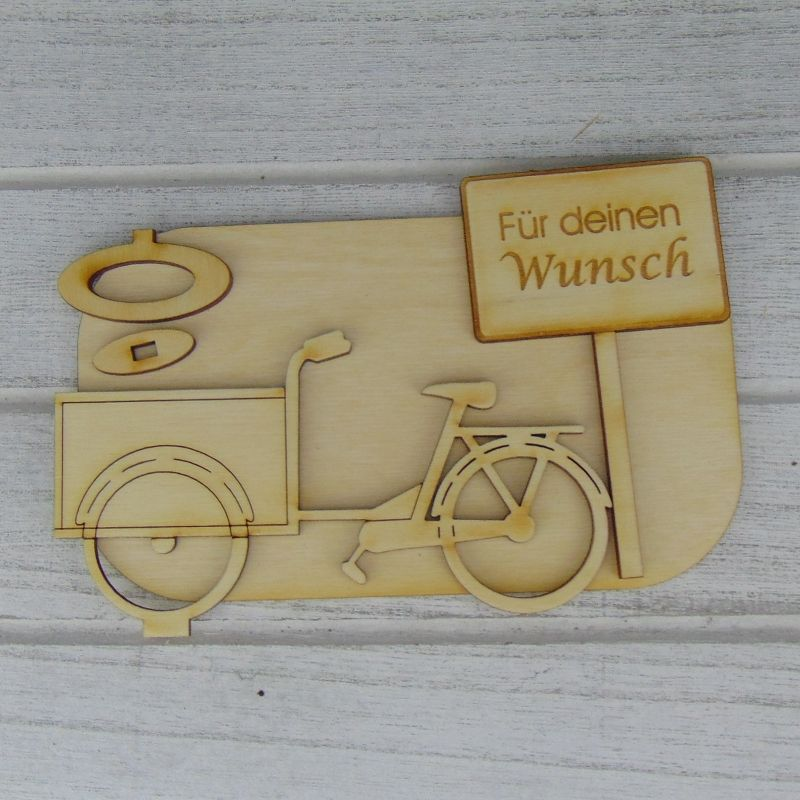 """Kleinesbild - Geld- oder Gutscheingeschenkset ★ Lastenfahrrad aus Holz mit Aufschrift """"Gute Reise""""★ zum Verschenken - Personalisierung möglich"""