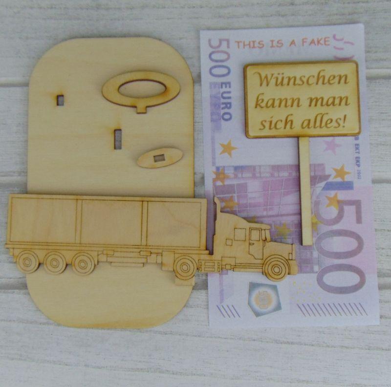 """Kleinesbild - Geld- oder Gutscheingeschenkset ★ Truck aus Holz mit Aufschrift """"Wünschen kann man sich alles!""""★ zum Verschenken für LKW Fahrer - Personalisierung möglich"""