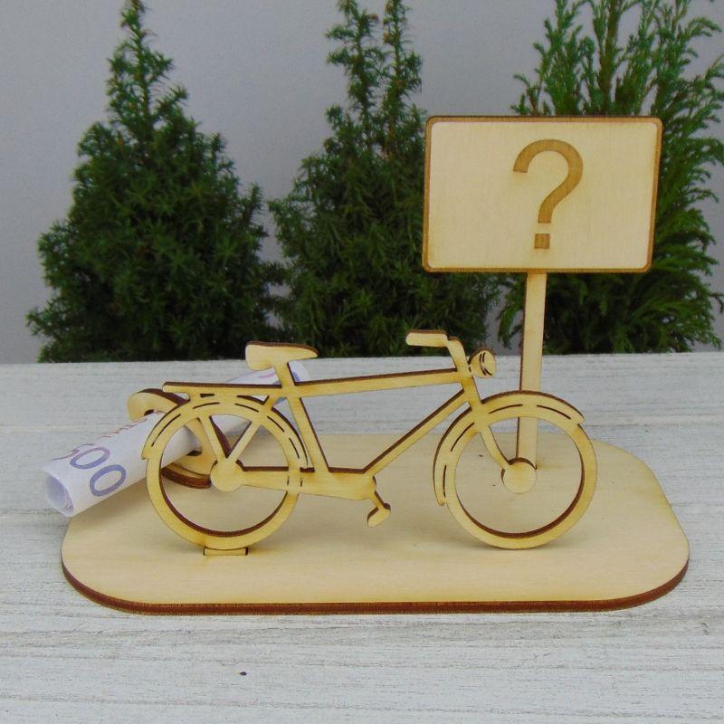 """- Geld- oder Gutscheingeschenkset ★ Fahrrad aus Holz mit Aufschrift """"Wunschtext""""★ mit Personalisierung - Geld- oder Gutscheingeschenkset ★ Fahrrad aus Holz mit Aufschrift """"Wunschtext""""★ mit Personalisierung"""