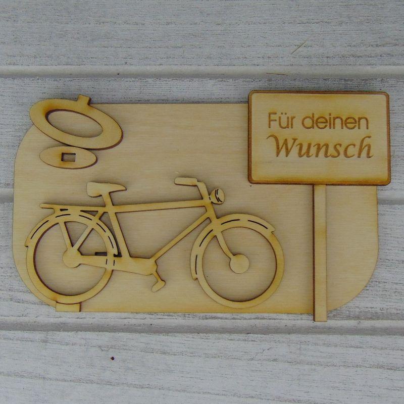 """Kleinesbild - Geld- oder Gutscheingeschenkset ★ Fahrrad aus Holz mit Aufschrift """"Wunschtext""""★ mit Personalisierung"""