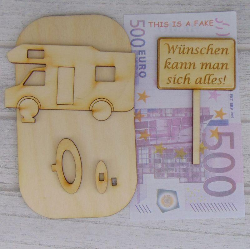 """Kleinesbild - Geld- oder Gutscheingeschenkset ★ Alkoven Wohnmobil aus Holz mit Aufschrift """"Rente 2021 Ich habe fertig""""★ Personalisierung möglich"""