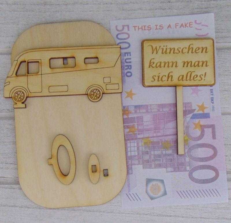 """Kleinesbild - Geld- oder Gutscheingeschenkset ★ integriertes Wohnmobil aus Holz mit der Aufschrift """"Ruhestand/Arbeiten!"""" ★ Personalisierung möglich"""