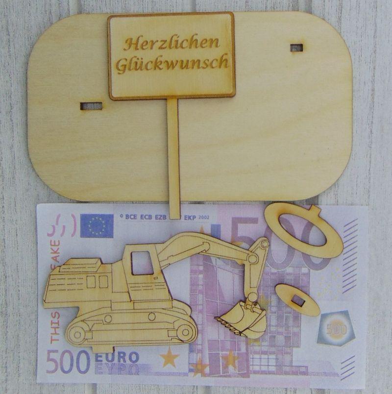 """Kleinesbild - Geld- oder Gutscheingeschenkset ★ Bagger aus Holz mit der Aufschrift """" Name ab Datum in Rente Wir noch nicht! """" ★ mit Personalisierung"""