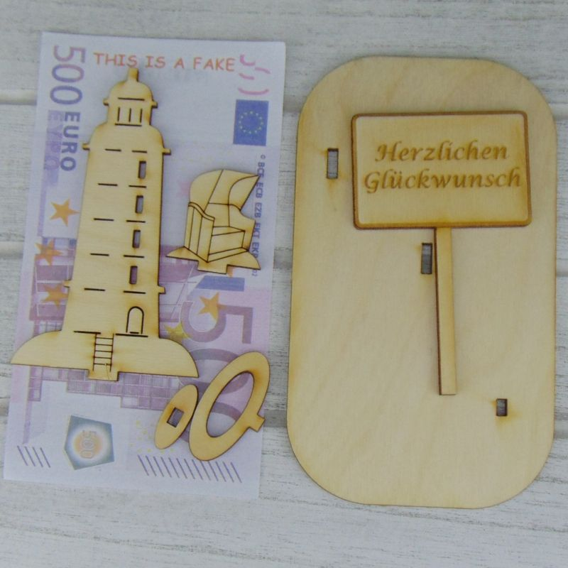 """Kleinesbild - Geldgeschenk Geburtstag- oder Gutscheingeschenkset ★ Leuchtturm aus Holz mit der Aufschrift """"Ohne Mäuse alles Käse"""" ★ zum Verschenken ★ Personalisierung möglich"""