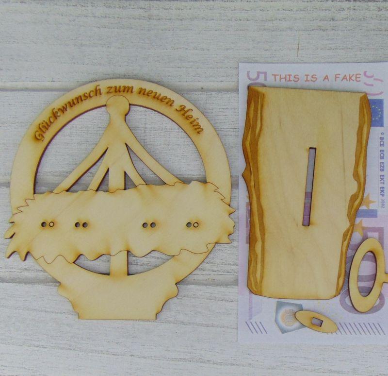 Kleinesbild - Geld- oder Gutscheingeschenk zum neuen Heim  ♥  aus Birkenholz  ♥ graviert  ♥ Geschenk  zum Richtfest
