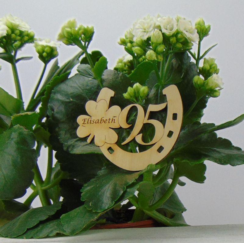Kleinesbild - Tischdekoration/ Geschenk ★ Hufeisen aus Holz mit Kleeblatt und Jahreszahl 95★ zum Verschenken zum Geburtstag oder Jahrestag