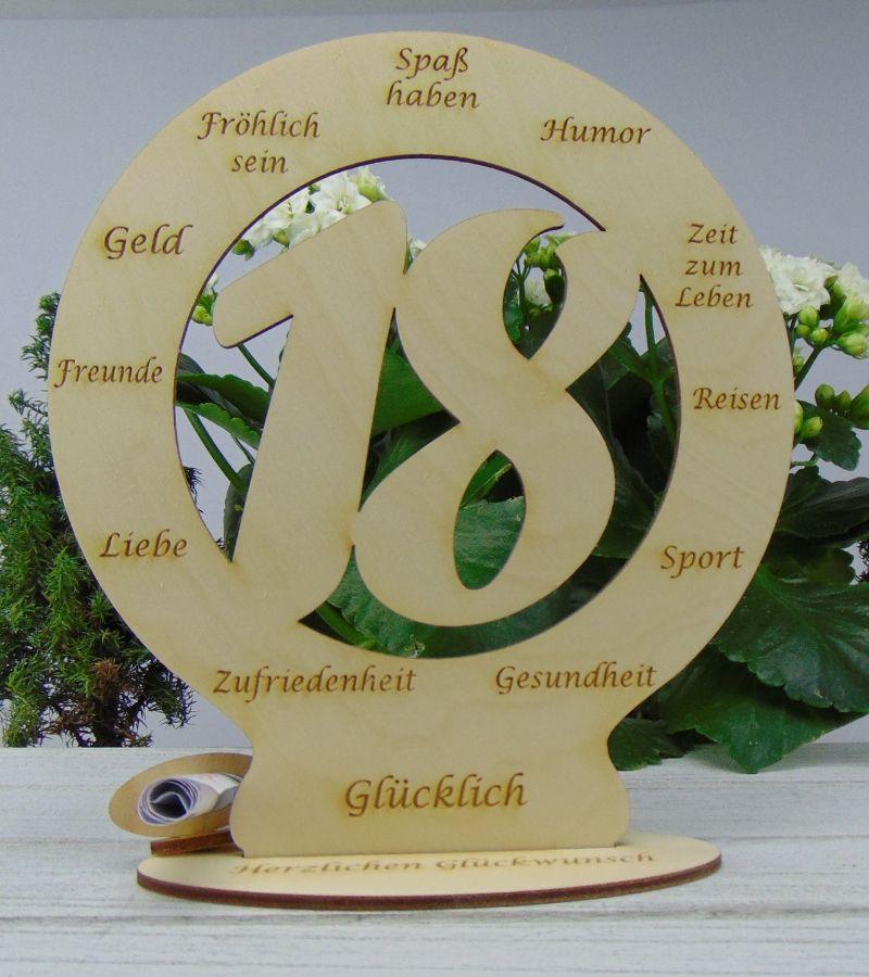 Kleinesbild - Zum 18. Geburtstag Geldgeschenk Personalisiertes Geschenk als wunderschöne Tischdekoration