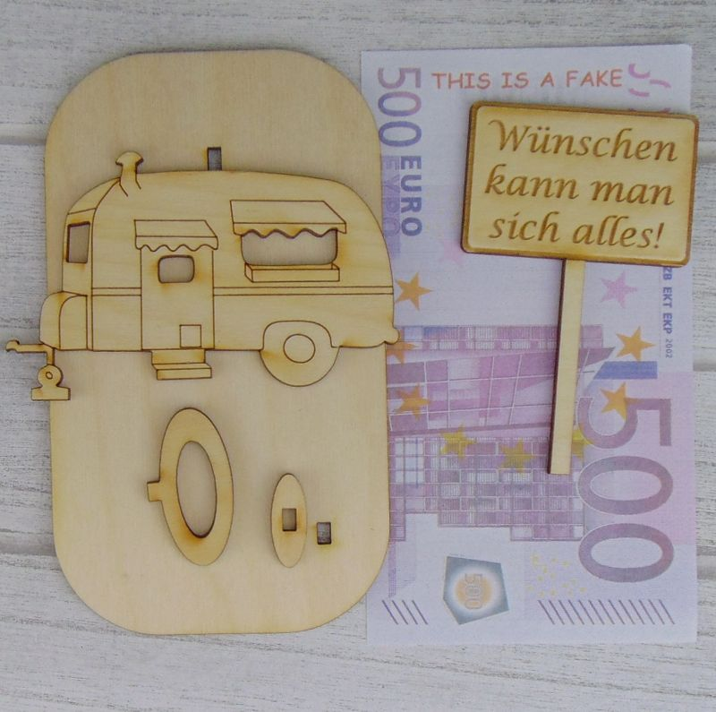 Kleinesbild - Geld - Gutscheingeschenk ★Wohnwagen Wunschname Datum in Rente Wir noch nicht ★Personalisiert zum Ruhestand